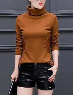 Feminino Camiseta Tamanhos Grandes / Casual Simples Outono / Inverno,Sólido Vermelho / Preto / Marrom / Verde Raiom / Poliéster Gola Alta