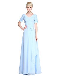 Lan ting bruid vloerlengte chiffon bruidsmeisje jurk - schede / kolom v-hals plus maat / petite