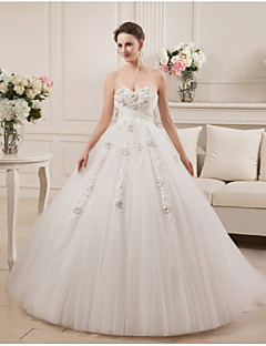 Ball Gown Sweetheart Court Train Satin Tulle Wedding Dress with Beading Ruche
