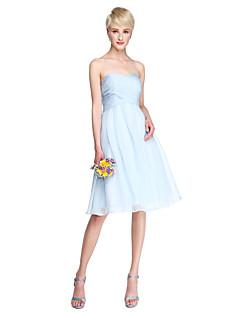 Lanting Bride® Ke kolenům Šifón Šaty pro družičky - A-Linie Srdce Větší velikosti / Malé s Křížení / Sklady