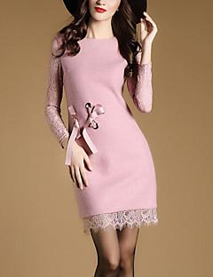 Damen Hülle Kleid-Ausgehen Einfach Patchwork Rundhalsausschnitt Übers Knie Langarm Rosa Schwarz Polyester Frühling HerbstMittlere