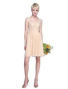 Lanting Bride® באורך  הברך שיפון / תחרה אמא ובת שמלה לשושבינה - גזרת A צווארון וי פלאס סייז (מידה גדולה) / פטיט עם תחרה / סרט