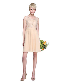 Lanting Bride® Knee-length Chiffon / Lace Mini Me Bridesmaid Dress - A-line V-neck Plus Size / Petite with Lace / Sash / Ribbon
