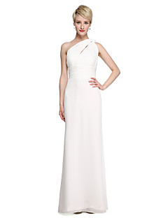 2017 Lanting Bride® Floor-length Chiffon Elegant Bridesmaid Dress - Sheath / Column One Shoulder with Sash / Ribbon Side Draping Ruching