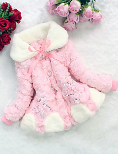 Girl's Fashion Imitation Fur Spring/Fall/Winter Going out/Daily Long Sleeve Down & Cotton Padded Warm Children Coat