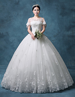 Princess Wedding Dress Vintage Inspired Floor-length Jewel Lace Organza Tulle Sequined with Appliques Beading Lace Sequin