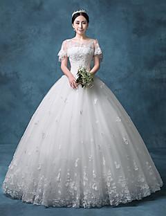 Prinsesse Bryllupskjole Vintage Inspireret Gulvlang Besmykket Blonder Organza Tyll Paljetter medPaljetter Appliqué Perlearbeid
