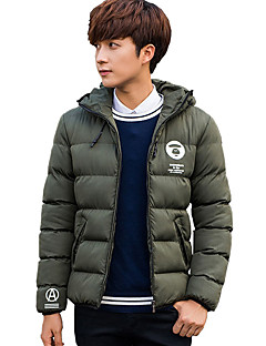 Men's Regular Padded Coat,Simple Cute Street chic Plus Size Going out Casual/Daily Solid-Polyester Cotton Long Sleeve HoodedBlue Red