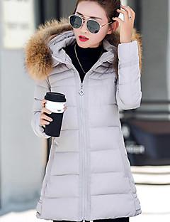 Manteau Doudoune Femme,Normal simple Décontracté / Quotidien Couleur Pleine-Polyester Polypropylène Manches Longues Capuche