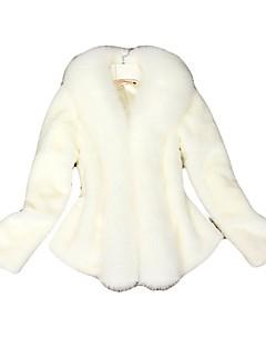 Feminino Casaco de Pelo Casual Simples Inverno,Sólido Branco / Preto Pêlo de Raposa Gola Boba-Manga Longa Grossa