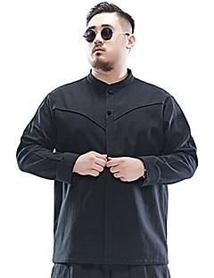 Masculino Camisa Social Tamanhos Grandes Simples Inverno,Sólido Preto Linho Colarinho Chinês Manga Longa Grossa