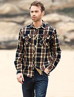 Houndstooth צווארון חולצה פשוטה יום יומי\קז'ואל / מידות גדולות חולצה גברים,קיץ / סתיו שרוול ארוך אדום / ירוק בינוני (מדיום) כותנה