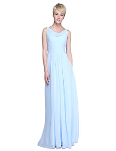 2017 Lanting Bride® Floor-length Chiffon Beautiful Back Bridesmaid Dress - Sheath / Column Cowl with Ruching
