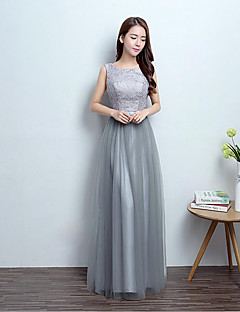 Floor-length Lace / Tulle / Polyester Bridesmaid Dress - Lace-up Ball Gown Scoop with Lace / Sequins