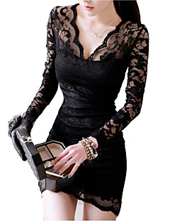 Women's Sexy Lace V-neck Long Sleeve Dress