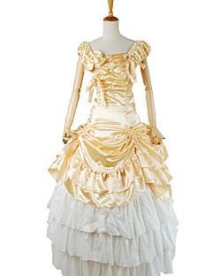 Roupa Gótica Vitoriano Cosplay Vestidos Lolita Amarelo Cor Única Manga Curta Blusa / Saia / Anágua Para Charmeuse