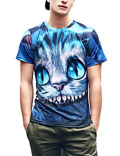 Heren Schattig / Street chic / Punk & Gothic Lente / Zomer T-shirt,Uitgaan / Feestje/cocktail / Club Print Ronde hals Korte mouw Blauw
