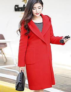Hætte Langærmet Tyk Dame Blå Rød Orange Ensfarvet Vinter Simpel Street I-byen-tøj Casual/hverdag Frakke,Uld Polyester