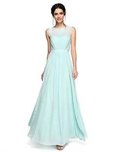 2017 Lanting Bride® Floor-length Chiffon Elegant Bridesmaid Dress - A-line Jewel with Sash / Pleats