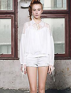 女性 カジュアル/普段着 秋 シャツ,ストリートファッション シャツカラー ソリッド ホワイト ポリエステル 長袖 薄手