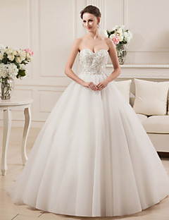 Ball Gown Wedding Dress Court Train Sweetheart Satin / Tulle with Beading / Embroidered
