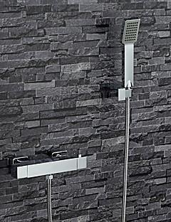 現代風 バスタブとシャワー サーモスタットタイプ ワイドspary with  真鍮バルブ 二つのハンドル二つの穴 for  クロム , 浴槽用水栓