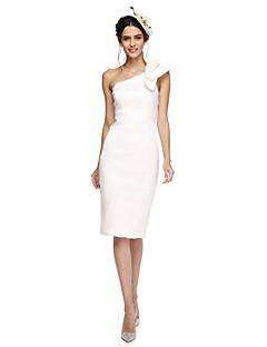 TS Couture מסיבת קוקטייל נשף שמלה - גב פתוח מעטפת \ עמוד כתפיה אחת באורך  הברך סאטן עם פפיון(ים)