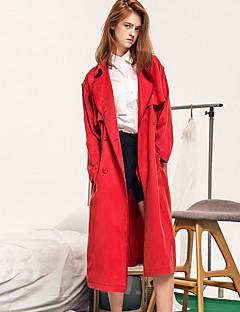 Damen Solide Street Schick Lässig/Alltäglich Trenchcoat,Winter Hemdkragen Langarm Rot Polyester