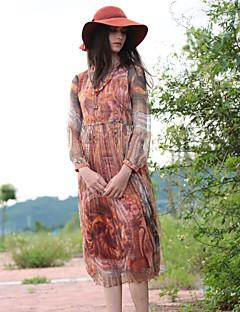 Dame Boheme Casual/hverdag Skede Kjole Trykt mønster,V-hals Midi Langærmet Rød Silke Efterår Alm. taljede Uelastisk Medium