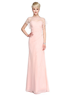 2017 Lanting Bride® Floor-length Georgette Convertible Dress Bridesmaid Dress - Sheath / Column Bateau with Beading Buttons Ruching