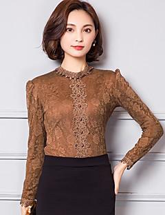 Feminino Camiseta Casual / Trabalho / Tamanhos Grandes Simples / Moda de Rua Outono / Inverno,Sólido Vermelho / Preto / Marrom Algodão