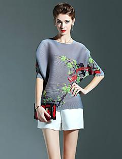 Feminino Camiseta Casual Vintage Outono,Floral Azul Rosa Cinza Roxo Poliéster Decote Redondo Manga Curta