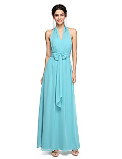 2017 לנטינג שיפון באורך הרצפה bride® שמלת השושבינה יפה בחזרה - קולר א-קו עם ruching