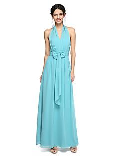 2017 Lanting Bride® Floor-length Chiffon Beautiful Back Bridesmaid Dress - A-line Halter with Ruching