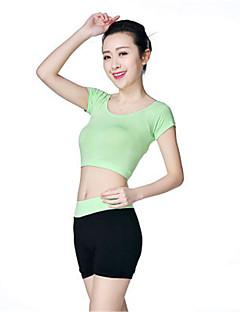 ריצה בגדים צמודים / טייץ רכיבה על אופניים לנשים שרוול קצר נושם / רך / נוח מודלים יוגה / כושר גופני / ספורט פנאי / חוף / ריצה בגדי ספורט