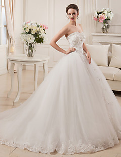 Ball Gown Wedding Dress Court Train Strapless Satin / Tulle with Appliques / Beading / Bow