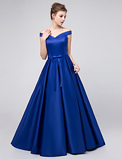 Ball Gown Off-the-shoulder Floor Length Satin Bridesmaid Dress with Sash / Ribbon
