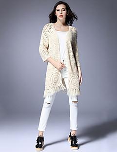 Women's Casual/Daily Cute Long Cardigan,Solid Beige Halter Long Sleeve Acrylic Fall Medium Micro-elastic