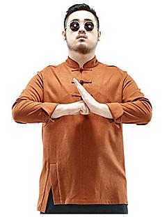 Masculino Camisa Social Tamanhos Grandes Vintage Inverno,Sólido Marrom Poliéster Colarinho Chinês Manga Longa Grossa