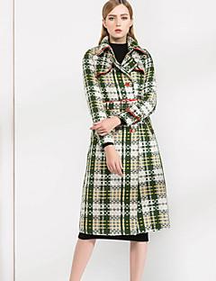 Feminino Casaco Casual Vintage Inverno, Quadriculada Verde Amarelo Lã AlgodãoManga Longa Grossa