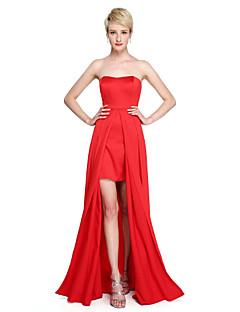 Lanting Bride® עד הריצפה סאטן פורקל שמלה לשושבינה  - מעטפת \ עמוד סטרפלס עם שסע קדמי קפלים