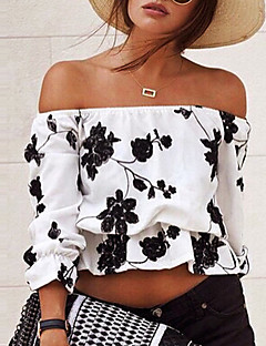 Women's Going out / Casual/Daily Sexy / Street chic Vintage Backless Spring / Fall T-shirtFloral Boat Neck  Sleeve