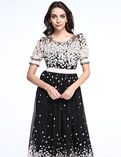 婦人向け ラウンドネック レース / ラッフル ドレス , アクリル マキシ 半袖