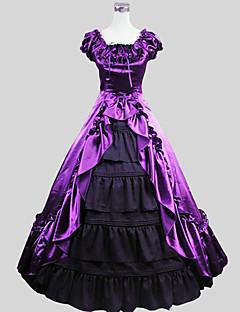 תלבושות לוליטה גותי ויקטוריאני Cosplay שמלות לוליטה סגול אחיד שרוול קצר עד לקרסול חליפת ערב ל נשים Charmeuse
