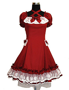 One-Piece/Dress Princess Cosplay Lolita Dress Solid Short Sleeve Knee-length Dress For Cotton