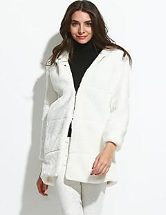 צווארון עגול פשוטה ליציאה מעיל פרווה נשים,חורף שרוול ארוך לבן עבה דמוי פרווה