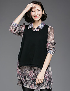 Women's Going out Casual/Daily Simple Spring Fall Set,Floral Shirt Collar Long Sleeve Black Polyester Opaque Medium