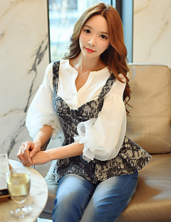 Women's Going out Casual/Daily Holiday Simple Cute Sophisticated Spring Fall ShirtSolid Patchwork V Neck  Length Sleeve White