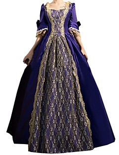 한 조각/드레스 고딕 로리타 클래식/전통적 롤리타 우아한 빅토리안 로코코 프린세스 빈티지 스타일 코스프레 로리타 드레스 잉크 블루 솔리드 긴소매 긴 길이 드레스 용 면 레이스