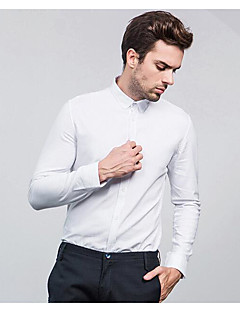 פסים צווארון קלאסי וינטאג' סגנון רחוב עבודה חולצה גברים שרוול ארוך לבן דק פוליאסטר
